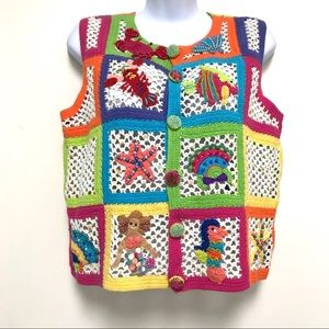 Just B Crochet Hippie Vest Mermaid Sea Life Retro